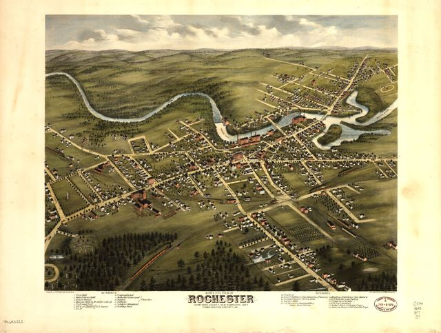 Bird's eye view of Rochester, Strafford County, New Hampshire, 1877 : from a position, east of town /
