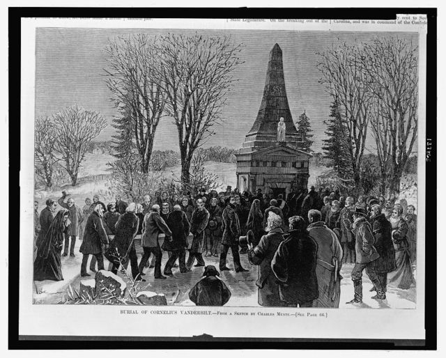 Burial of Cornelius Vanderbilt / Mente ; from a sketch by Charles Mente.
