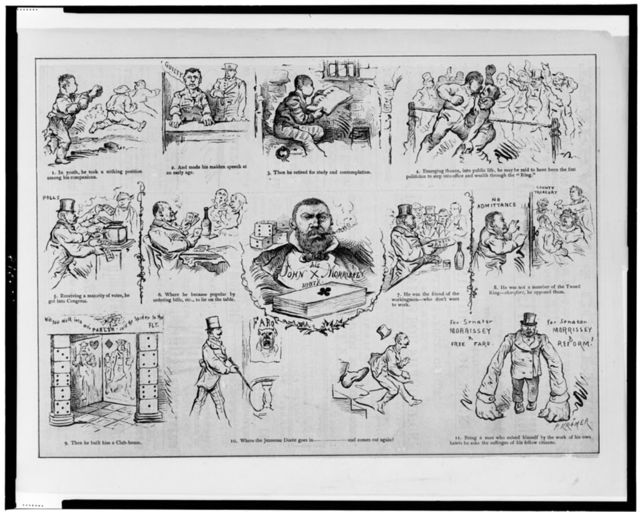 [Cartoon depicting scenes in the life of John Morrissey, showing him as a fighter, in jail, as a politician, etc.] / P. Kramer.