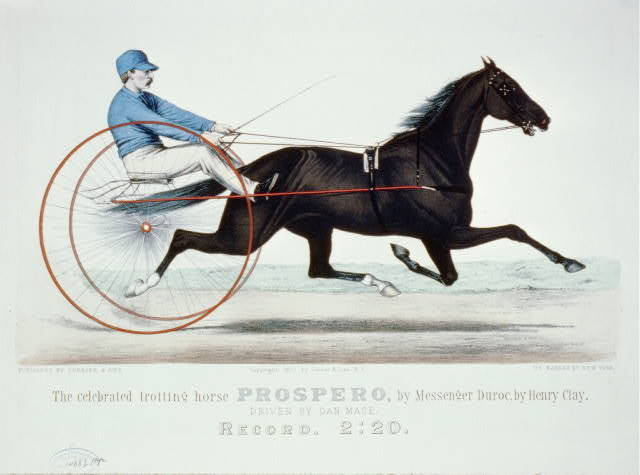 Celebrated trotting horse Prospero, by messenger Duroc, by Henry Clay: Driven by Dan Mace. Record, 2:20