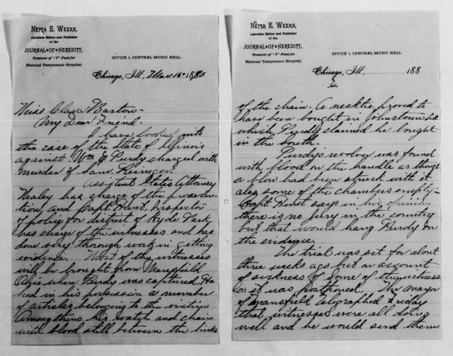 Clara Barton Papers: General Correspondence, 1838-1912; Burnett, Mary Weeks and R. A., 1877-1908, undated