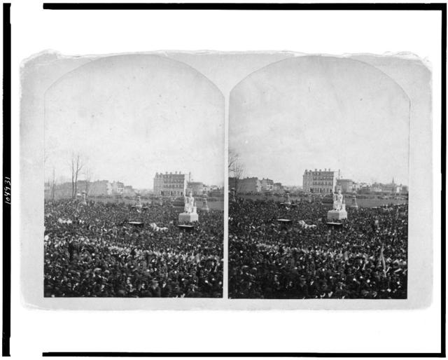 [Crowd at the inauguration of Rutherford B. Hayes, on the east front grounds of the U.S. Capitol, surrounding Horatio Greenough's statue of George Washington] / Brady's National Portrait Gallery, Washington, D.C.
