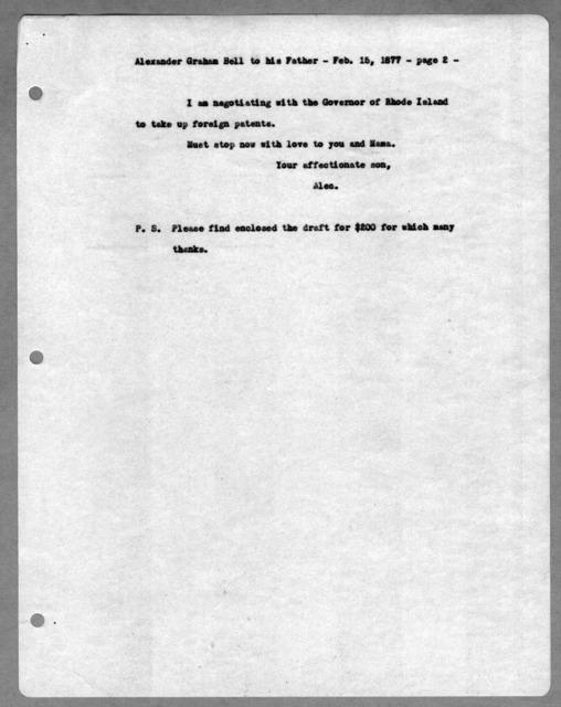 Letter from Alexander Graham Bell to Alexander Melville Bell, February 15, 1877