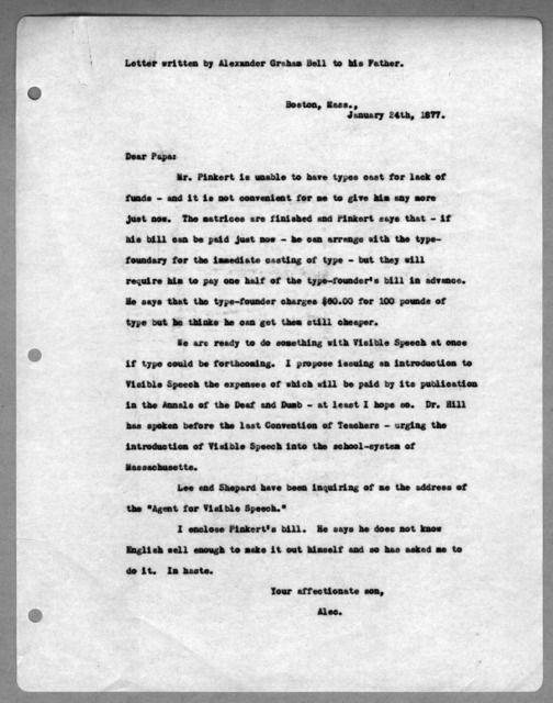Letter from Alexander Graham Bell to Alexander Melville Bell, January 24, 1877
