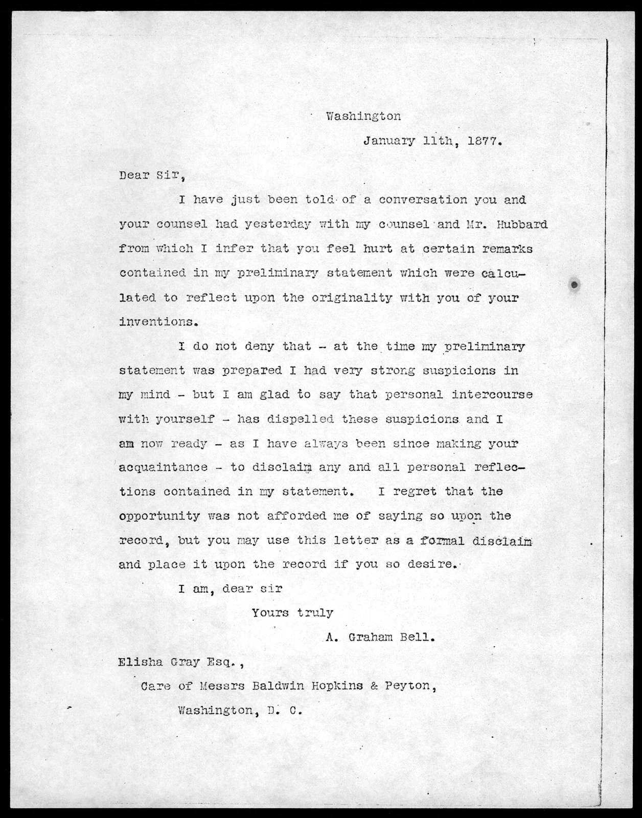 Letter from Alexander Graham Bell to Elisha Gray, January 11, 1877