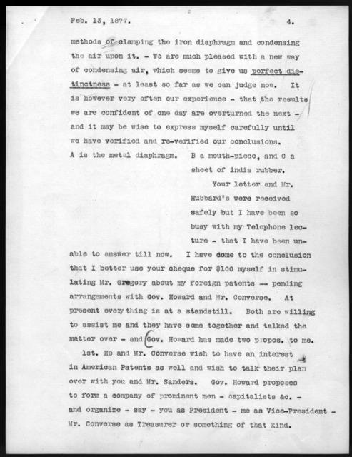 Letter from Alexander Graham Bell to Gardiner Greene Hubbard, February 13, 1877
