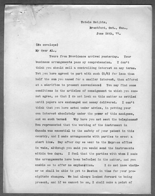 Letter from Alexander Melville Bell to Alexander Graham Bell, June 26, 1877