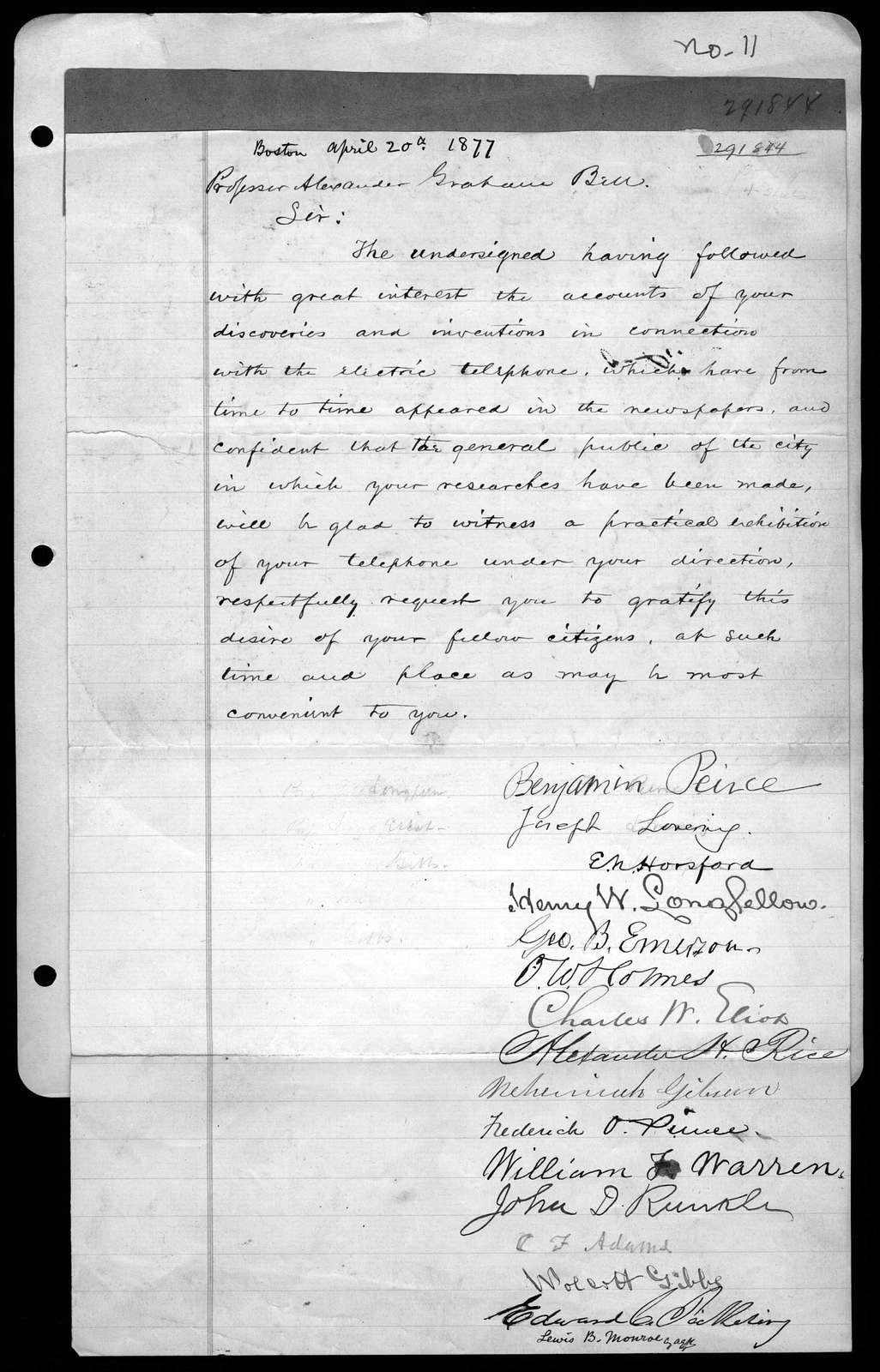 Letter from Benjamin Peirce to Alexander Graham Bell, April 20, 1877