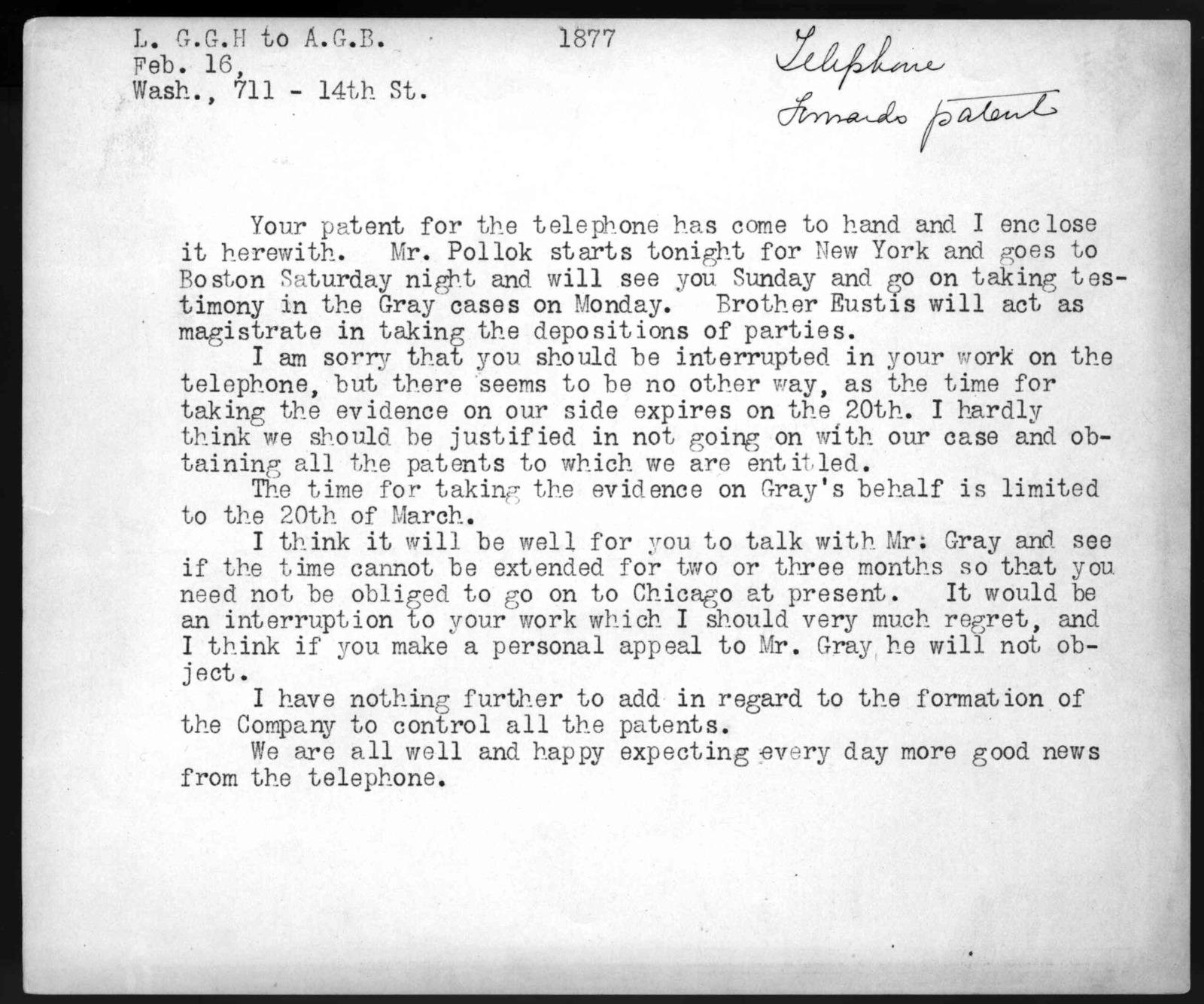 Letter from Gardiner Greene Hubbard to Alexander Graham Bell, February 16, 1877