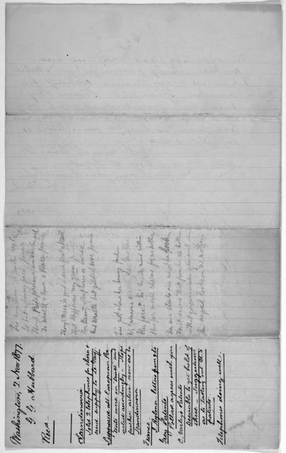 Letter from Gardiner Greene Hubbard to Alexander Graham Bell, November 2, 1877