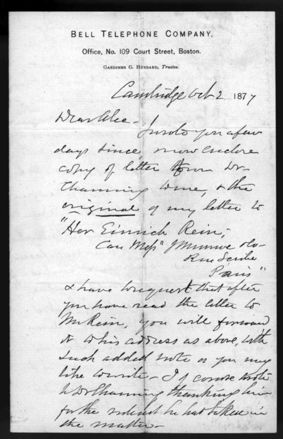 Letter from Gardiner Greene Hubbard to Alexander Graham Bell, October 2, 1877