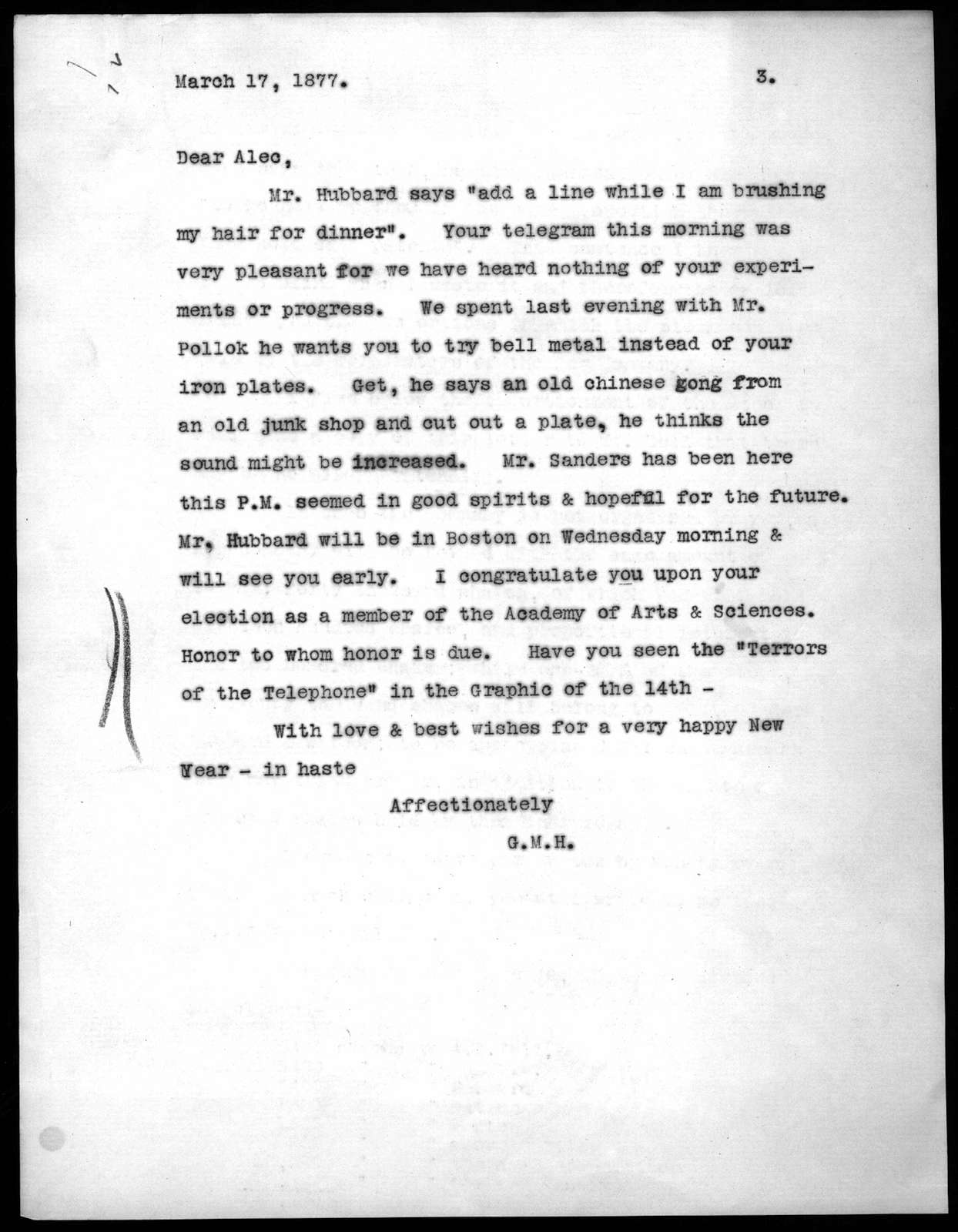 Letter from Gertrude McCurdy Hubbard to Alexander Graham Bell, March 17, 1877