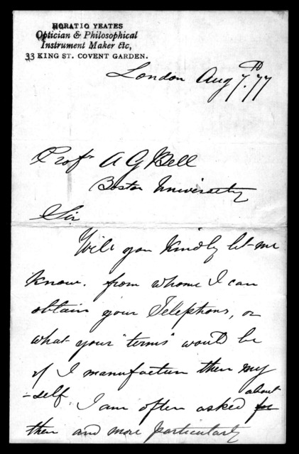 Letter from Horatio Yeates to Alexander Graham Bell, August 7, 1877