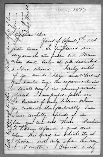 Letter from Mabel Hubbard Bell to Alexander Graham Bell, April 1877