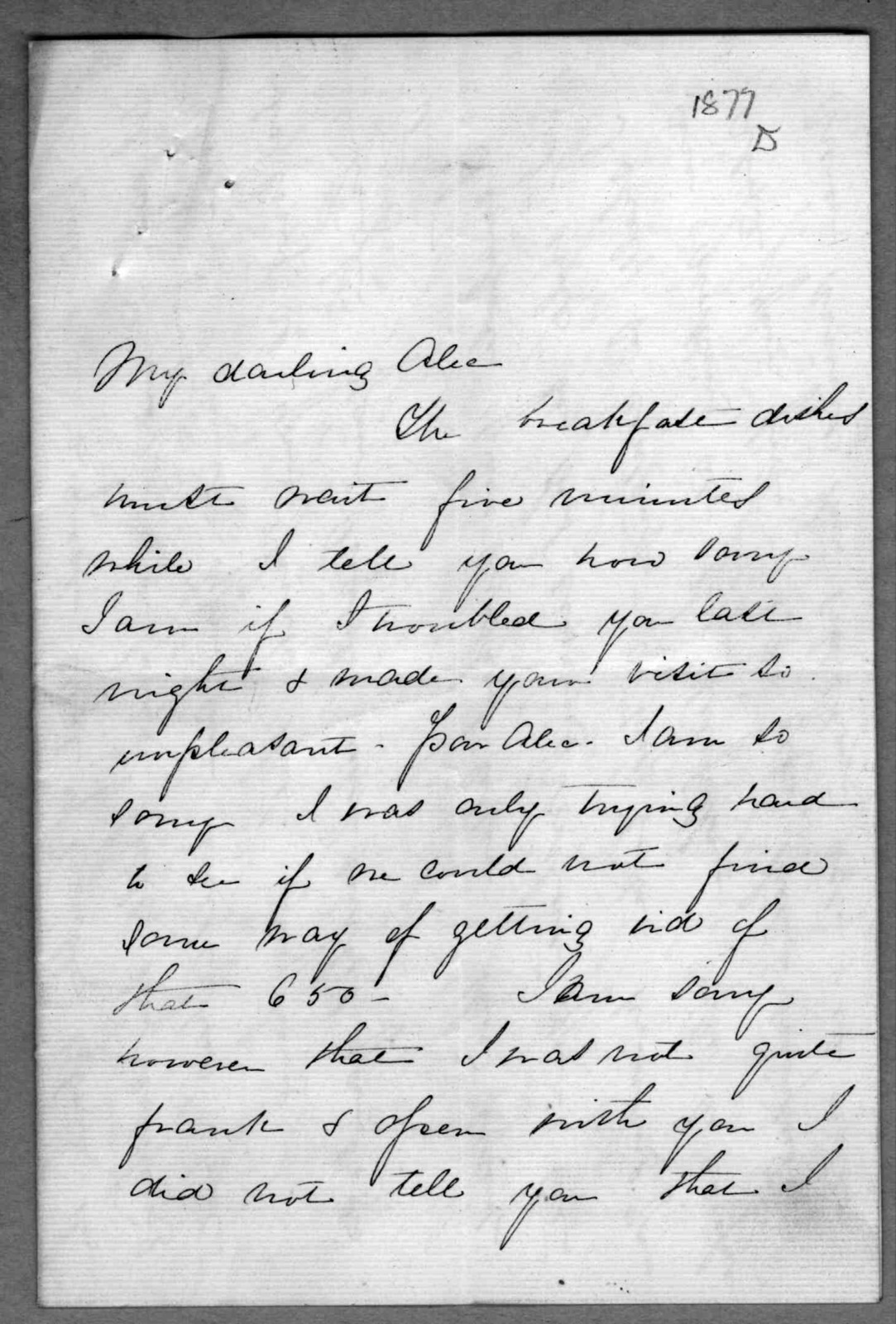 Letter from Mabel Hubbard Bell to Alexander Graham Bell, February 2, 1877