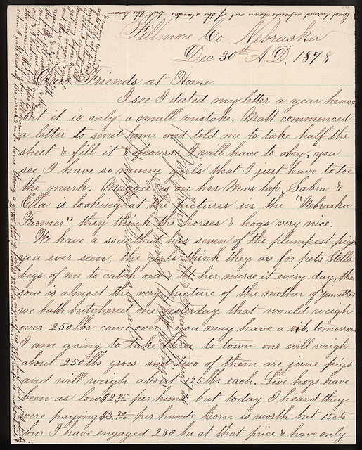 Letter from Uriah W. Oblinger and Mattie V. Oblinger to Thomas Family, December 30, 1877