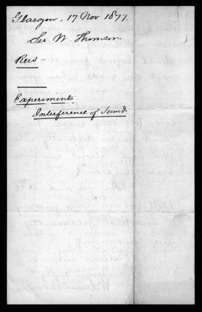 Letter from William Thomson (Baron Kelvin) to Alexander Graham Bell, November 17, 1877