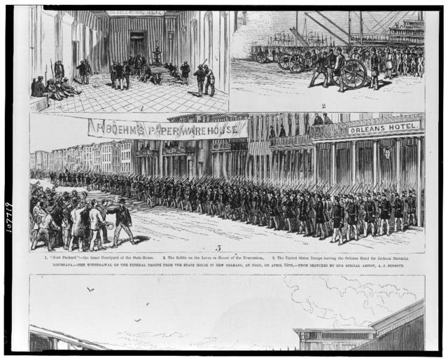 Louisiana--the withdrawal of the federal troops from the State House in New Orleans, at noon, on April 24th / from sketches by our special artist, A.J. Bennett.