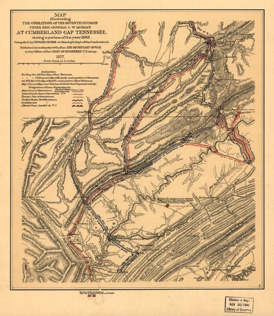 Map illustrating the operations of the Seventh Division under Brig. General G. W. Morgan at Cumberland Gap, Tennessee, during a portion of the year 1862