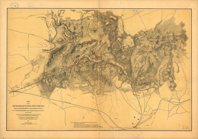 Map of the battlefield of Bull Run, Virginia. Brig. Gen. Irvin McDowell commanding the U.S. forces, Gen. [P.] G. T. Beauregard commanding the Confederate forces, July 21st 1861