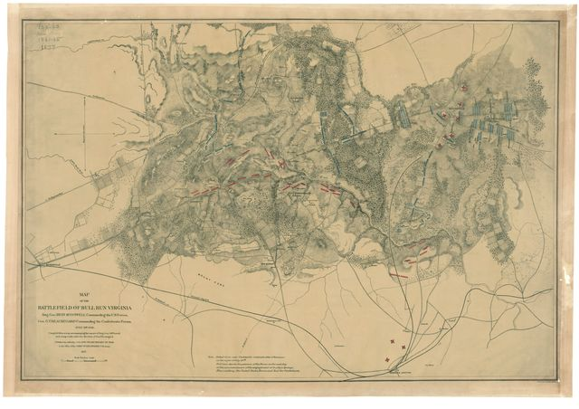 Map of the battlefield of Bull Run, Virginia. Brig. Gen. Irvin McDowell commanding the U.S. forces, Gen. G. [i.e. P.] T. Beauregard commanding the Confederate forces, July 21st 1861 /