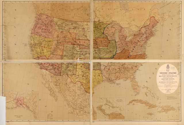 Map of the United States showing the limits of the military departments and the positions of the military posts /