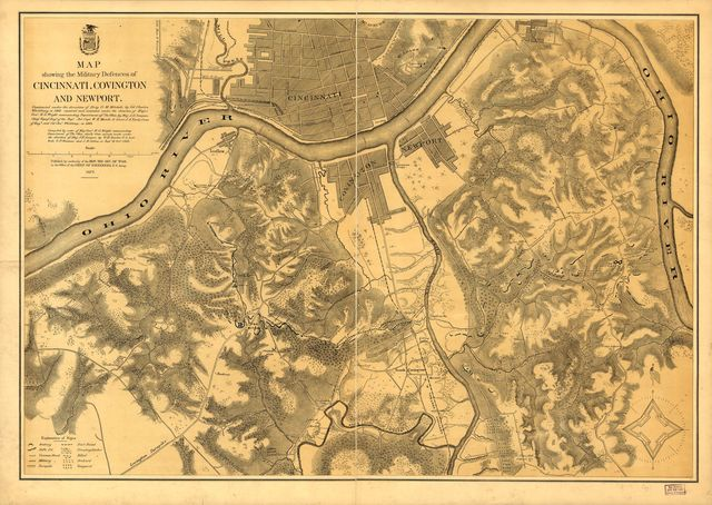 Map showing the military defences of Cincinnati, Covington and Newport