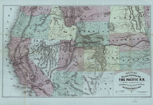 New trans-continental map of the Pacific R.R. and routes of overland travel to Colorado, Nebraska, the Black Hills, Utah, Idaho, Nevada, Montana, California and the Pacific Coast.