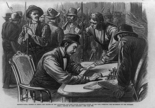 Pennsylvania--Robert M. Ammon, the leader of the Pittsburgh and Fort Wayne railroad strike, at his post, directing the movements of the strikers / from a sketch by John Donaghy.