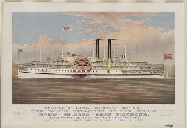 People's line Hudson River, the palace steamers of the world, Drew--St. John--Dean Richmond: leaving New York daily (Sunday's excepted) at 6 p.m. & Albany at 8 p.m. making close connections with trains North & West
