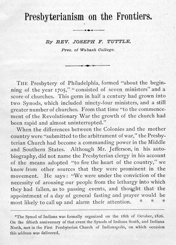 Presbyterianism on the frontiers