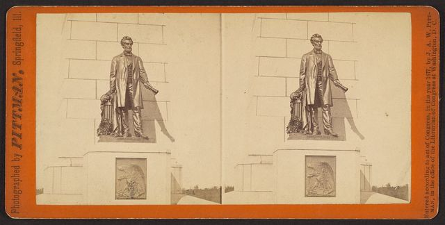 Statue of Abraham Lincoln on the National Lincoln Monument, Oak Ridge Cemetery, Springfield, Ill. / photographed and for sale by J.A.W. Pittman, 511 & 513 North Side Square, Springfield, Ill.