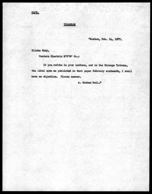 Telegram from Alexander Graham Bell to Elisha Gray, February 24, 1877