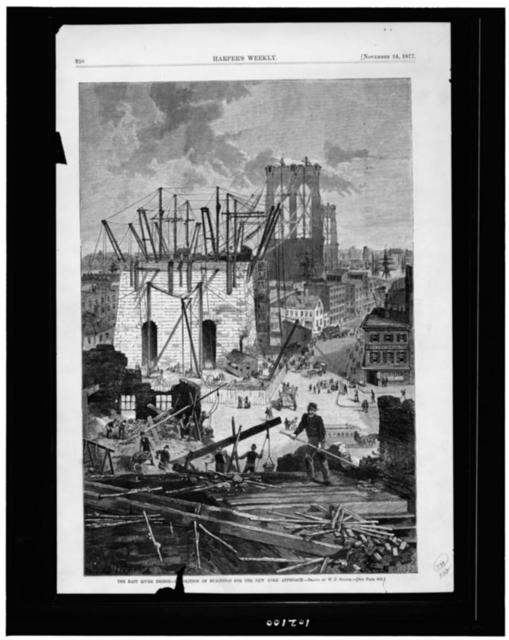The East River Bridge--demolition of buildings for the New York approach / drawn by W.P. Snyder.