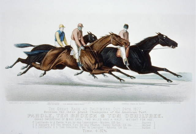The great race at Baltimore, Oct. 24th, 1877: between the three grand champions of the American Turf, Parole, Ten Broeck & Tom Ochiltree