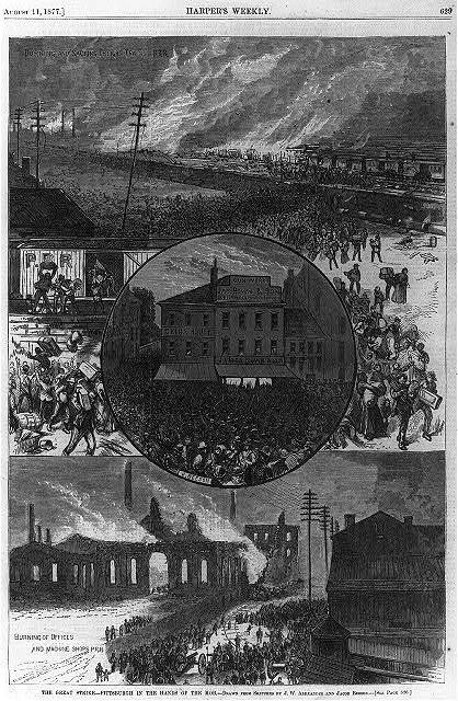 The Great [railroad] Strike [Pittsburgh, Pa. 1877]: Burning of offices and machine shops, PRR; Burning and sacking freight trains, PRR; and mob outside James Bown & Son gunworks [composite of 3 scenes on single page]