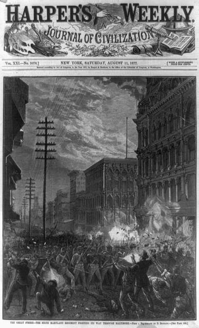 The Great strike--the Sixth Maryland Regiment fighting its way through Baltimore / from a p[hotogr]aph by D. Bendann.