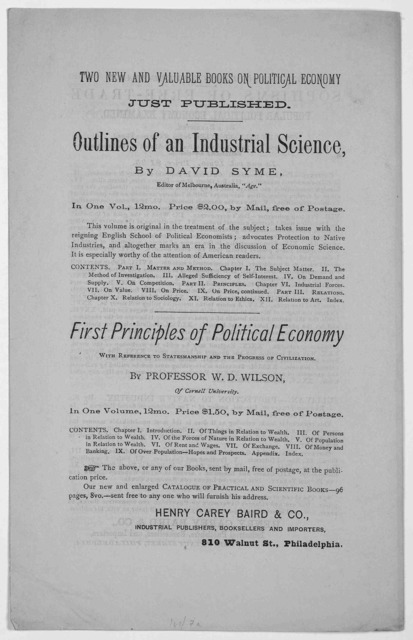 The National finances. Views of Henry Carey Baird - Condition of our credit abroad- Lessons drawn from history - Policy of the Treasury department - The remedy for existing evils .... From the Philadelphia Inquirer, March, 26, 1877.