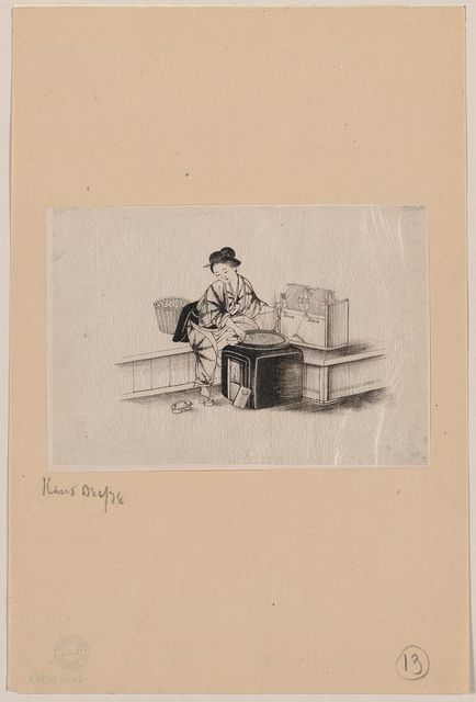 [A Japanese woman, with one shoe (geta) off (to operate spinning machine), spinning silk from silkworm cocoons]