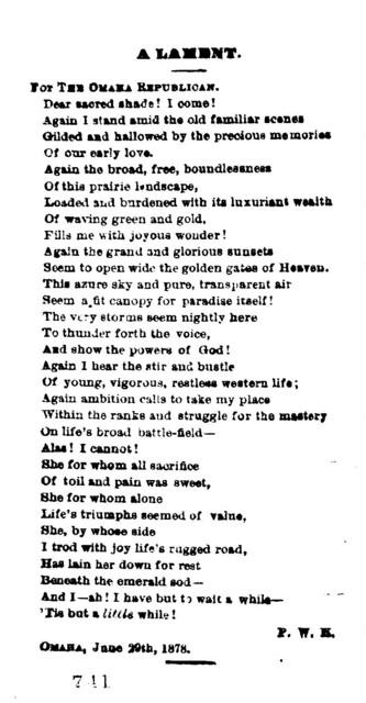 A lament. Omaha, June 29th, 1878