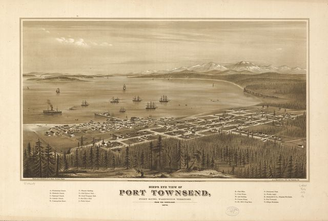 Bird's eye view of Port Townsend, Puget Sound, Washington Territory 1878.