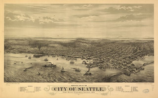 Bird's eye view of the city of Seattle, Puget Sound, Washington Territory, 1878.