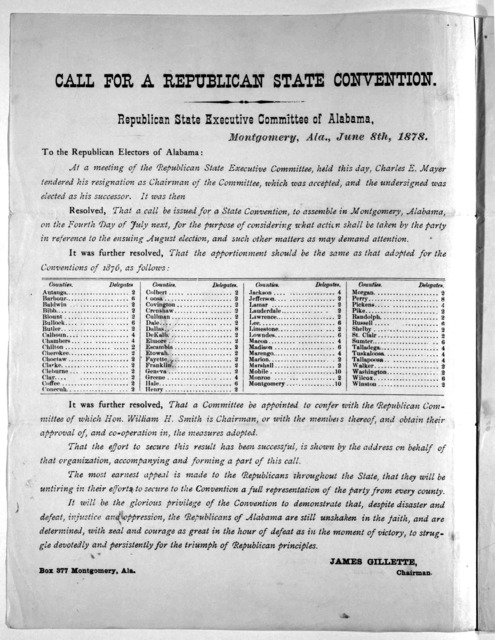 Call for a Republican state convention. Republican state executive committee of Alabama.
