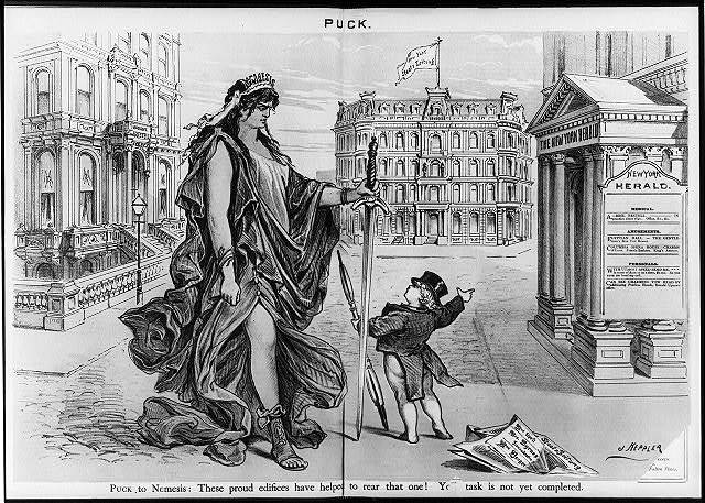 "[Cartoon showing Puck pointing at New York Herald and Staatszeitung newspaper buildings and saying to large female figure ""Nemesis"": ""These proud edifices have helped to rear that one! (Madame Restell's medical office building). Your task is not yet completed"". Cartoon shows editorial opposition to newspapers which permit classified ads for female doctors, who cater to females (""Frauenärztin"") and for lurid amusement personals]"