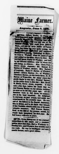 Clara Barton Papers: Family Papers: Newspaper clippings, 1878-1958, undated