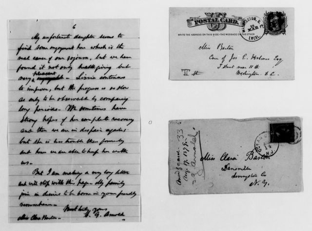 Clara Barton Papers: General Correspondence, 1838-1912; Arnold, Samuel G., 1878-1879, undated