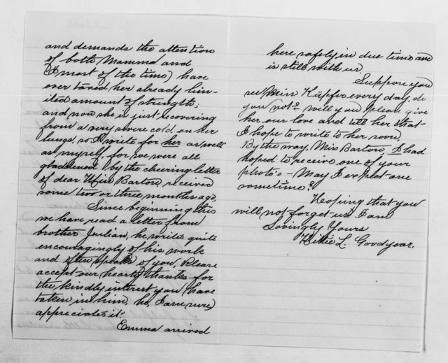 Clara Barton Papers: General Correspondence, 1838-1912; Goodyear, S. H., and family, 1878-1902