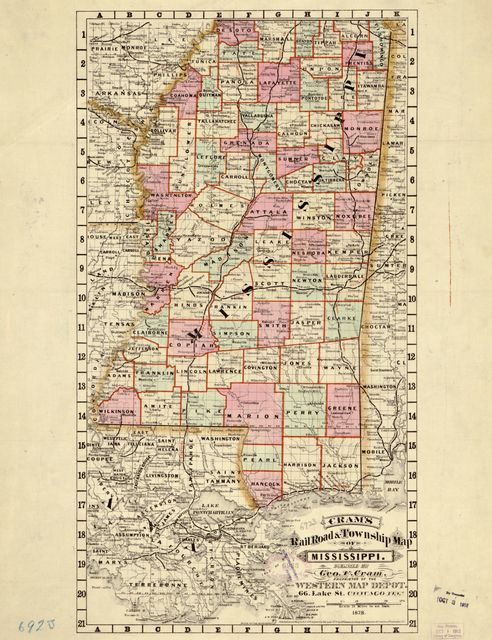Cram's railroad & township map of Mississippi /