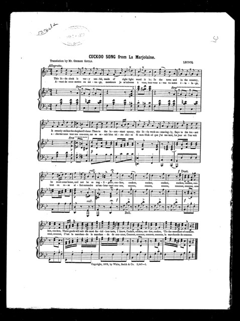 Cuckoo song from La Marjolaine