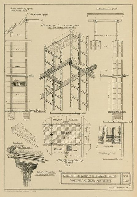 Extension of library of Harvard College, Iron details. Ware and Van Brunt architects / Wm. C. Richardson, del.